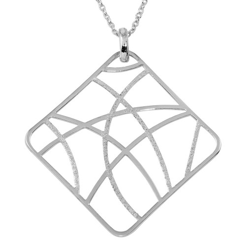 -Closeout- Wholesale Sterling Silver 925 Rhodium Plated Square-Shaped Pendant Necklace - STP00278