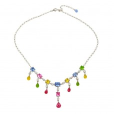 **Closeout** Wholesale Sterling Silver 925 Rhodium Plated Multi-colored CZ Drop Necklace - STP00334