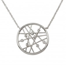 Wholesale Sterling Silver 925 Rhodium Plated Round Pendant Necklace - STP00369