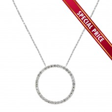 **Special Price** Wholesale Sterling Silver 925 Clear CZ Rhodium Plated Open Circle Necklace 27mm - STP00418