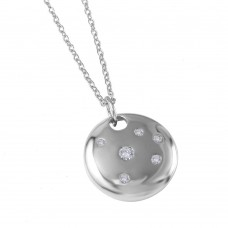 **Closeout** Wholesale Sterling Silver 925 Rhodium Plated Round Shield Pendant Necklace - STP00434