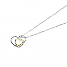 **Closeout** Wholesale Sterling Silver 925 Rhodium Plated Small Clear CZ Graduated Heart Necklace - STP00567
