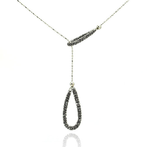-Closeout Items- Wholesale Sterling Silver 925 Rhodium Plated Double Loop End Necklace - STP00578BLK