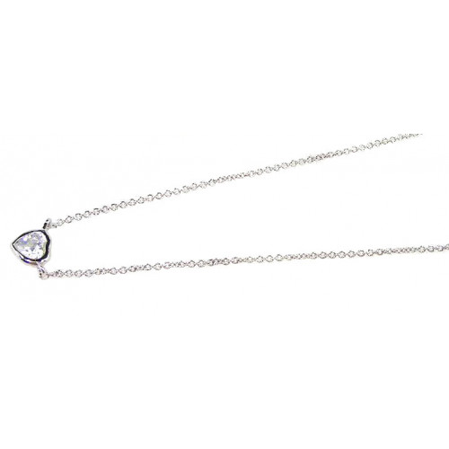 Wholesale Sterling Silver 925 Rhodium Plated One Round CZ Necklace - STP00594