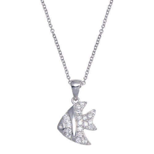 -Closeout- Wholesale Sterling Silver 925 Rhodium Plated Clear CZ Fish Pendant Necklace - STP00661