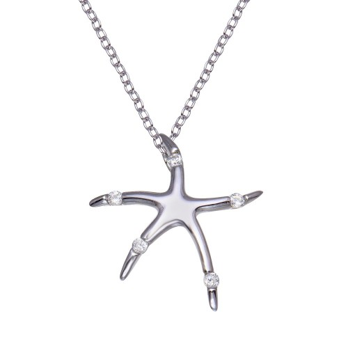 Wholesale Sterling Silver 925 Rhodium Plated Clear CZ Starfish Pendant Necklace - STP00759