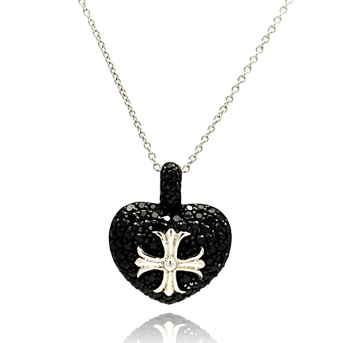 -Closeout- Wholesale Sterling Silver 925 Rhodium Plated Black Heart with Silver Cross Necklace - STP00784