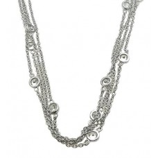 Sterling Silver Rhodium Plated Multiple Chain Necklace with CZ - STP00863