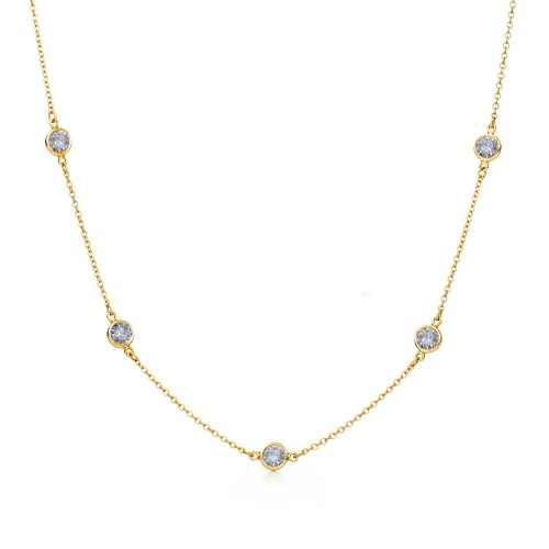 Wholesale Sterling Silver 925 Gold Plated Chain Necklace with CZ - STP00863GP