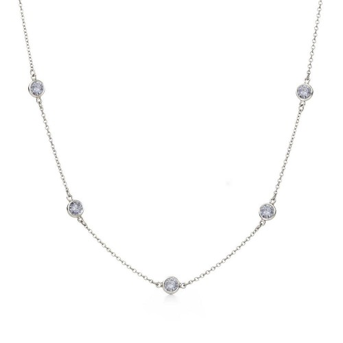 Wholesale Sterling Silver 925 Rhodium Plated CZ By Yard Chain Necklace - STP00863