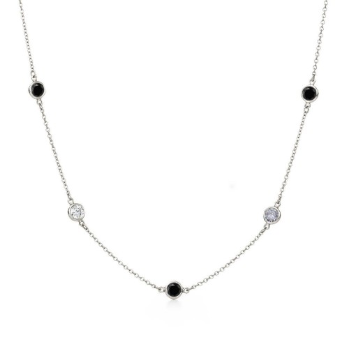 Wholesale Sterling Silver 925 Rhodium Plated Black And Clear CZ By the Yard Necklace - STP00864-60