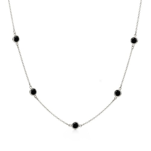 Wholesale Sterling Silver 925 Rhodium Plated Black CZ By The Yard Necklace - STP00865