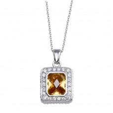 -Closeout- Wholesale Sterling Silver 925 Square Champagne CZ Necklace - STP00926CH