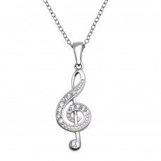 Wholesale Sterling Silver 925 Rhodium Plated Treble Clef Pendant Necklace - STP01118