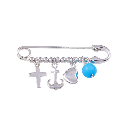 Wholesale Sterling Silver 925 Rhodium Plated Beads Pin Pendant - STP01136