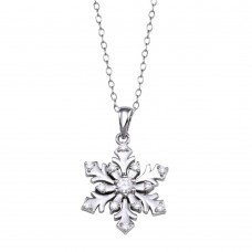 Wholesale Sterling Silver 925 Rhodium Plated Snow Flakes CZ Necklace - STP01267