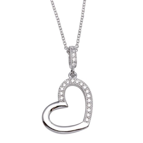 Wholesale Sterling Silver 925 Rhodium Plated Open Heart Necklace with CZ - STP01352