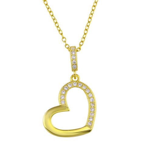 Wholesale Sterling Silver 925 Gold Plated Open Heart Necklace with CZ - STP01352GP