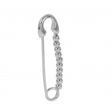 Wholesale Sterling Silver 925 Rhodium Plated Bead Pin Necklace - STP01434RH