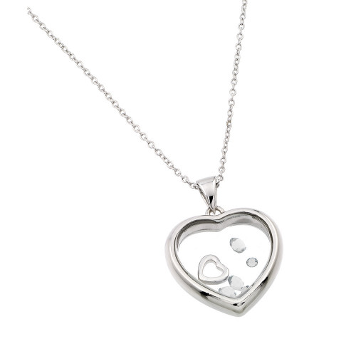 Wholesale Sterling Silver 925 Rhodium Plated CZ April Birthstone Glass Heart Necklace - STP01469APR