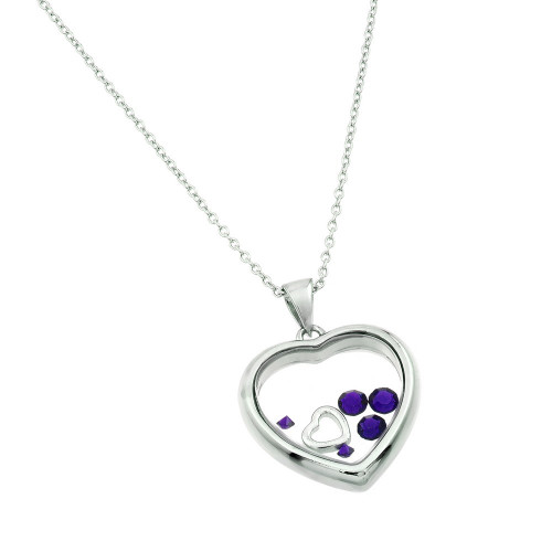 Wholesale Sterling Silver 925 Rhodium Plated CZ February Birthstone Glass Heart Necklace - STP01469FEB