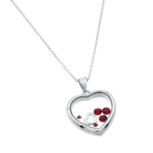 Wholesale Sterling Silver 925 Rhodium Plated CZ January Birthstone Glass Heart Necklace - STP01469JAN