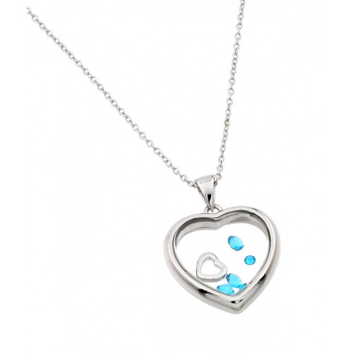 Wholesale Sterling Silver 925 Rhodium Plated CZ March Birthstone Glass Heart Necklace - STP01469MAR