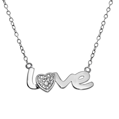 Wholesale Sterling Silver 925 Rhodium Plated Clear Diamond Love Necklace - STP01481
