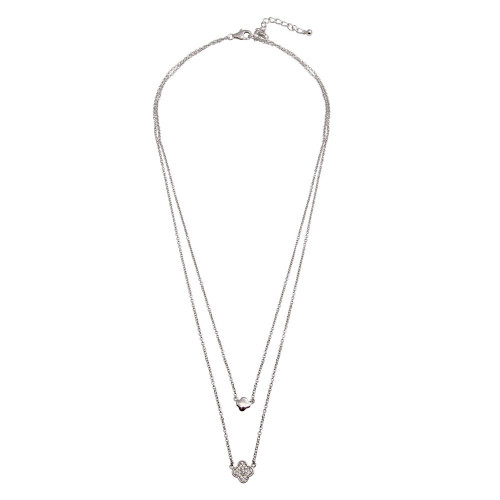 Wholesale Sterling Silver 925 Rhodium Plated Double Chain Clover Necklace with CZ - STP01507