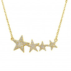 Wholesale Sterling Silver 925 Gold Plated Graduated CZ Star Necklace - STP01536GP