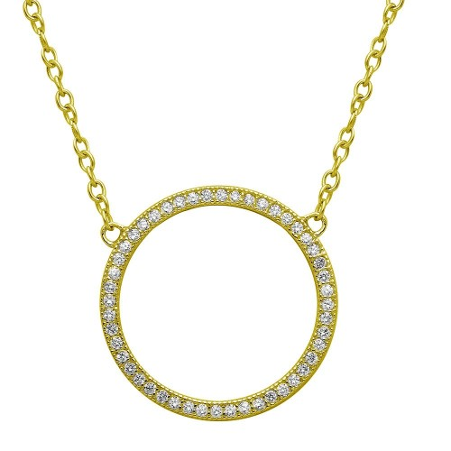 Wholesale Sterling Silver 925 Gold Plated Open Circle CZ Encrusted Necklace - STP01547GP