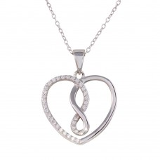 Wholesale Sterling Silver 925 Rhodium Plated Open Heart Infinity Pendant Necklace with CZ - STP01554