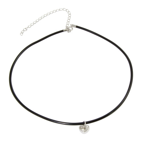 Wholesale Sterling Silver 925 Rhodium Plated Heart Charm Black Rubber Choker Necklace - STP01565RH