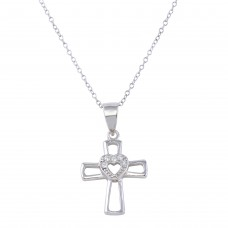 Sterling Silver Rhodium Plated Small Open Cross with Heart Center and CZ - STP01623