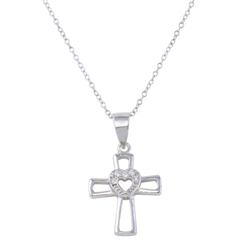 Wholesale Sterling Silver 925 Rhodium Plated Open Cross and Heart Pendant Necklace with CZ - STP01623