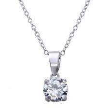 Wholesale Sterling Silver 925 Rhodium Plated Mini Round Clear CZ Pendant Necklace - STP01626RH