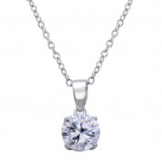 Wholesale Sterling Silver 925 Rhodium Plated Round Clear CZ Stone Pendant Necklace - STP01627RH