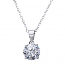 Wholesale Sterling Silver 925 Rhodium Plated Round Clear CZ Stone Pendant Necklace - STP01628RH