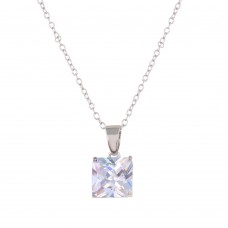 Wholesale Sterling Silver 925 Rhodium Plated CZ Stone Necklace - STP01631RH