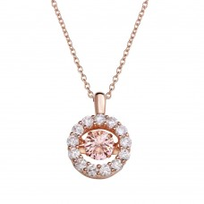 Wholesale Sterling Silver 925 Rose Gold Plated Open Round Pendant with Pink Dancing CZ - STP01632RGP