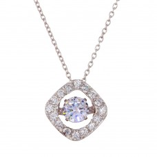 Wholesale Sterling Silver 925 Rhodium Plated Open Square Pendant Necklace with Dancing CZ Stones - STP01633
