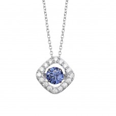 Wholesale Sterling Silver 925 Rhodium Plated Open Square Pendant Necklace with Dancing CZ Stones - STP01633BLU