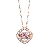 Wholesale Sterling Silver 925 Rose Gold Plated Open Square Pendant Necklace with Dancing Pink CZ Stone - STP01633RGP