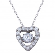 Sterling Silver Rhodium Plated Open Heart CZ Pendant Necklace with CZ - STP01634