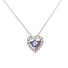 Wholesale Sterling Silver 925 Rhodium Plated Open Heart CZ Pendant Necklace with Dancing CZ - STP01634BLU