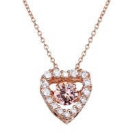 Wholesale Sterling Silver 925 Rose Gold Plated Open Heart CZ Pendant Necklace with Dancing CZ - STP01634RGP