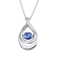 Wholesale Sterling Silver 925 Rhodium Plated Open Teardrop Necklace with Blue Dancing CZ - STP01635BLU