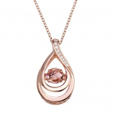 Wholesale Sterling Silver 925 Rose Gold Plated Open Teardrop Necklace with Dancing Pink CZ - STP01635RGP