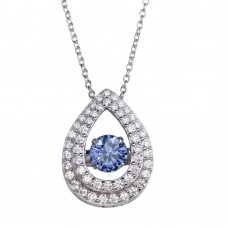 Wholesale Sterling Silver 925 Rhodium Plated Open Teardrop Pendant Necklace with Dancing Blue CZ - STP01636BLU