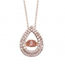 Wholesale Sterling Silver 925 Rose Gold Plated Open Teardrop Pendant Necklace with Dancing CZ - STP01636RGP